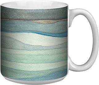 Tree-Free Greetings Extra Large 20-Ounce Ceramic Coffee Mug, Watercolor Waves Themed Shel Rummell Art (XM29479)