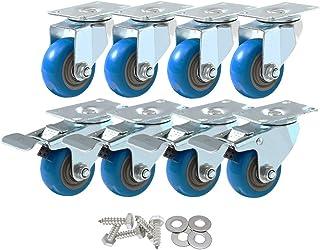 8 Pack 4 Inch Combo Caster Swivel Plate 4 w/Brake & 4 Plate Heavy Duty on Blue PU Wheels with Heavy Duty Screws