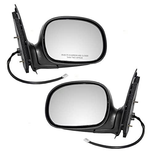 Pair Set Power Side View Mirrors W Adapter Chrome Covers   Ford