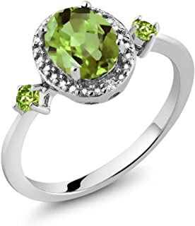 925 Sterling Silver Green Peridot & Diamond Accent Women's Ring 1.48 cttw (Available 5,6,7,8,9)