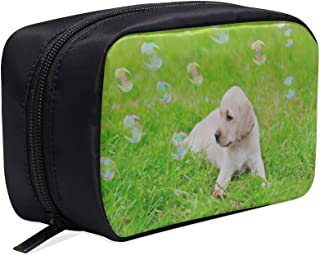 Dogs Play With Soap Bubbles Outdoors In Summer Portable Travel Makeup Cosmetic Bags Organizer Multifunction Case Small Toiletry Bags For Women And Men Brushes Case