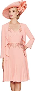 494ff2f7a515 Fenghuavip Elegant V-Neck 3/4 Sleeve Pink Mother of Brides Dress 2 Pieces