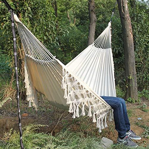 Hangmat Macrame Fringe 2 persoons tweepersoons Deluxe hangmat Swing Net Chair indoor hangstoel hangmatschommels, wit