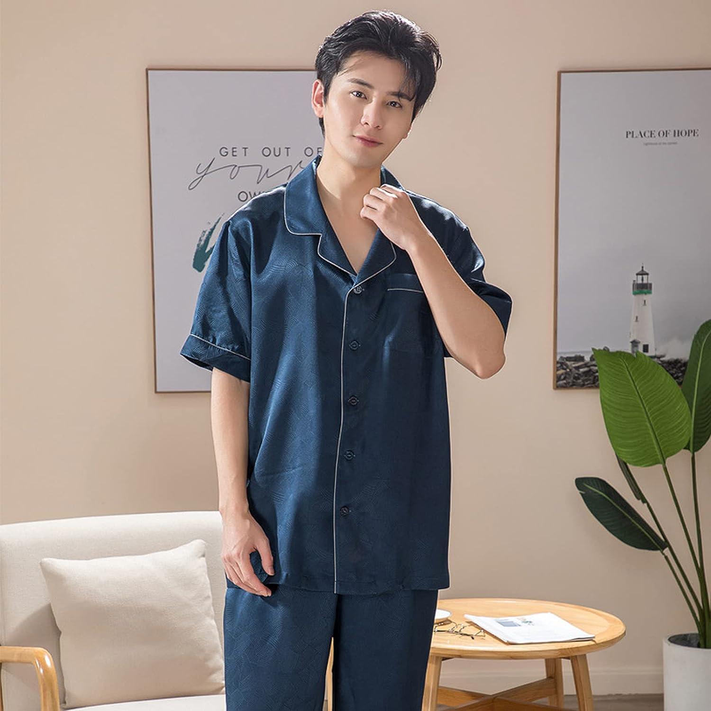 Men Silk Sleepwear Summer Pajamas Set Mens Pyjama Men Silk Pajamas Pajamas Men Short Sleeve Trousers,Blue,XL