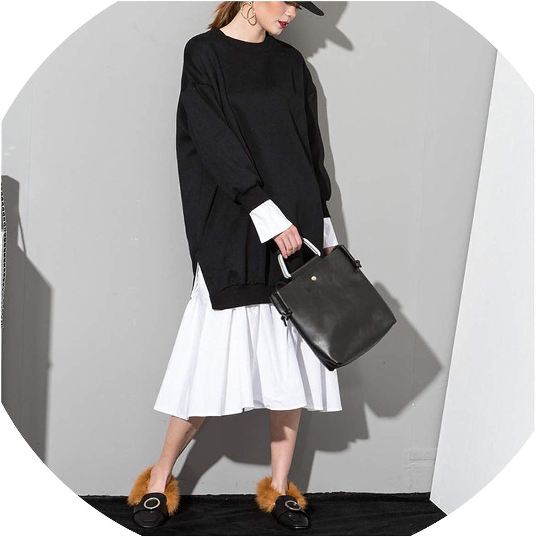 CollocationOnline Solid color Round Neck Long Sleeve Black White Split Joint Women Sweatshirts Dress