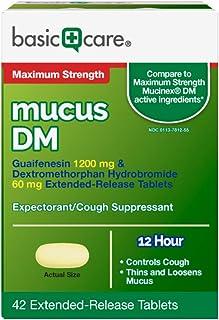 Basic Care Maximum Strength Mucus DM, Expectorant and Cough Suppressant, 42 Count