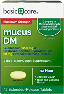 Basic Care Maximum Strength Mucus DM, Guaifenesin 1200 mg & Dextromethorphan Hydrobromide 60 mg Extended-Release Tablets, 42 Count