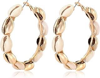 Hoop Earrings For Women Natural Cowrie Shell Beads Hoop Earrings Statement Stud Drop Earrings Bohemia Hawaii Wakiki Beach Jewelry