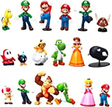 Brandless 18 Unids/Lote Super Mario Bros PVC Figuras de Acción Juguetes Yoshi Peach Princesa Luigi Shy Guy Donkey Kong Modelo Muñecas de Dibujos Animados