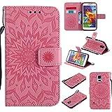 Aralinda Funda para Galaxy S5, diseño de flores de sol, piel sintética, con cierre tipo cartera con ranura para tarjetas/soporte, compatible con Samsung Galaxy S5. (color: rosa)