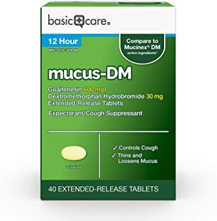 Amazon Basic Care Mucus DM, Guaifenesin and Dextromethorphan Hydrobromide Extended-Release Tablets, 600 mg/30 mg, 40 Count