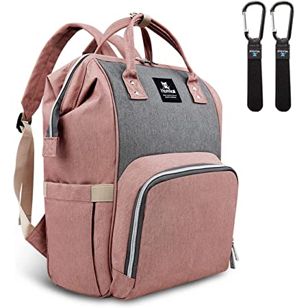 Stylish and Durable Large Capacity 2Hooks Pink Baby Diaper Bag Multi-Function Waterproof Travel Backpack Tote Shoulder Nappy Bags With Changing Pad
