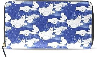 長財布 財布 白狼 ラウンドファスナー 北欧 ギフト プレゼント PU レザー 本革 大容量 通学 通勤 旅行