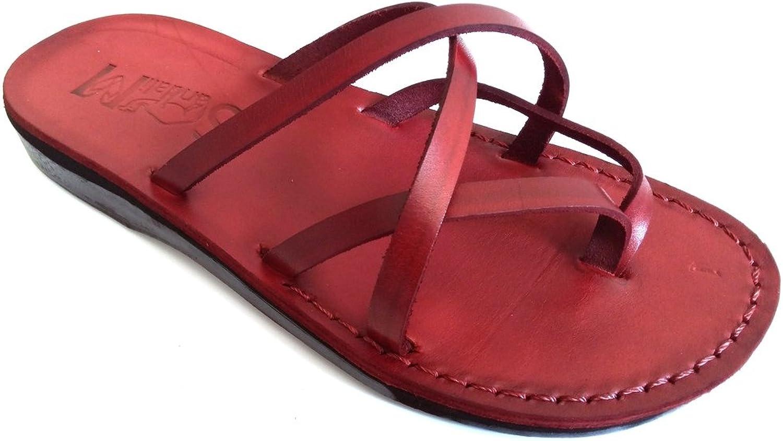 SANDALIM Beautiful Handmade Sandals for Men Women Genuine Leather - Criss Cross Style Brown