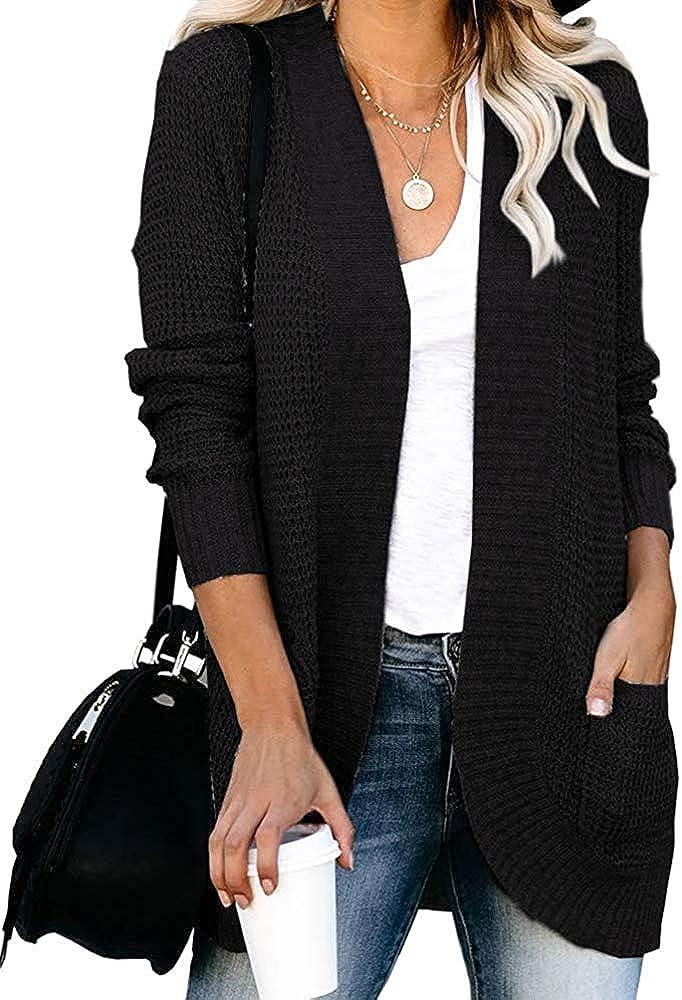 KIRUNDO 2021 Women's Open Front Cardigan Long Sleeve Knitted Soft Sweater Loose Lightweight Slouchy Coat Outwear