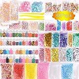 Kit de suministros para limo de 88 paquetes, limo de cristal transparente que incluye frascos de purpurina, tazón con esferas de color azúcar, cuentas, rodajas de flores de frutas dulces