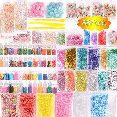 Schleimzubehör Set mit flauschigen Schleimperlen und klarem Kristallschlamm, einschließlich Glitzergläsern, farbigem Zuckerpapier, Perlen, Fruchtblumen, Bonbonscheiben und Schleimform zum Basteln