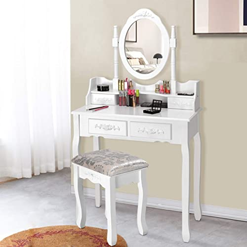 Giantex Vanity Table Set with Oval Mirror and 4 Drawers, Makeup Dressing Table with Cushioned Stool, Wooden Makeup Table for Bedroom Bathroom Girls Women, White