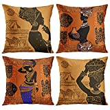 Emvency Set of 4 Throw Pillow Covers Retro Abstract Black and Brown Basket Zebra Giraffe African Women Ethnic Tribe Decorative Pillow Cases Home Decor Standard Square 18x18 Inches Pillowcases