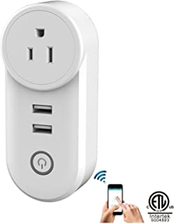 LETOUR Smart wifi Outlets Smart Plug,Wireless Wifi Smart Socket Outlet Compatible with Alexa and Google Home with 2 USB Outputs Smart Power Plug(C178A)