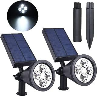 SolisFlare Solar-Spotlights 2-in-1 Solar Powered 4 LED Solar-Lights Auto On/Off Solar-Spot Lights-Outdoor Adjustable Landscape (Cold White) 2Packs Spotlights