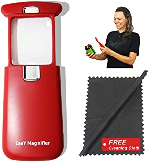 Pocket Magnifying Glass 3X an Elderly Assistant Product for Seniors; Helpful 50th 60th 70th Birthday Gift Set for Women and Men, Mom and Dad (Sedona RED)
