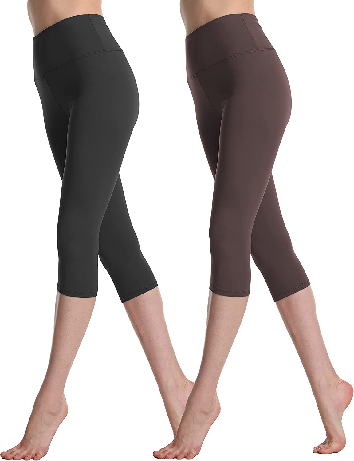 Zioccie High Waisted Capri Leggings for Women- Soft Opaque Slim Tummy Control Yoga Pants for Workout Running (2 Pack Black,Coffee, Plus Size)