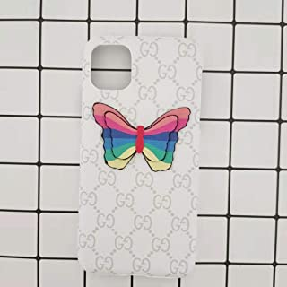Case for iPhone 11 pro max, Classic Luxury White Designer Monogram Leather Butterfly iPhone 11 Pro Max Case for Women