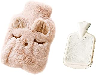 Drizzle Hot Water Bottle Classic Rubber Bottle with Cute Cover for Pain Relief (Pink Rabbit)