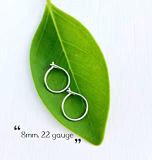 Extra Small Thin 8mm Tiny Sterling Silver Hoop Earrings for Cartilage, 22 Gauge