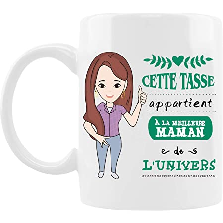 """Tasse de Fête des Mères,Cadeau d'Anniversaire Pour Maman,Mug en Céramique ---""""Cette Tasse Appartient à La Maman de l'Univers"""",Four à Micro-Ondes Disponible,Tasse à Café/Lait/Thé- 330ml"""