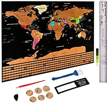 Scratch off World Map Poster - Personalized Travel Tracker Map with US States - Country Flag - Traveler Favorite, Funny Scratch, Personalized Decor - Deluxe Black 32.48  x 23.42