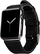 Jisoncase 42MM Apple Watch Band Genuine Lambskin Leather iWatch Replacement Watchbands with Classic Buckle for Apple Watch Sport Edition, Black (For 42MM Version) TC-AW4-18L10