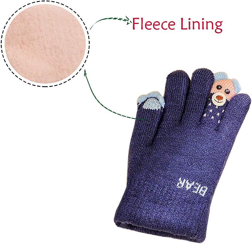 Kacota Kids Winter Gloves Knitted Fleece Lined Gloves for Boys Girls 4-10 Years
