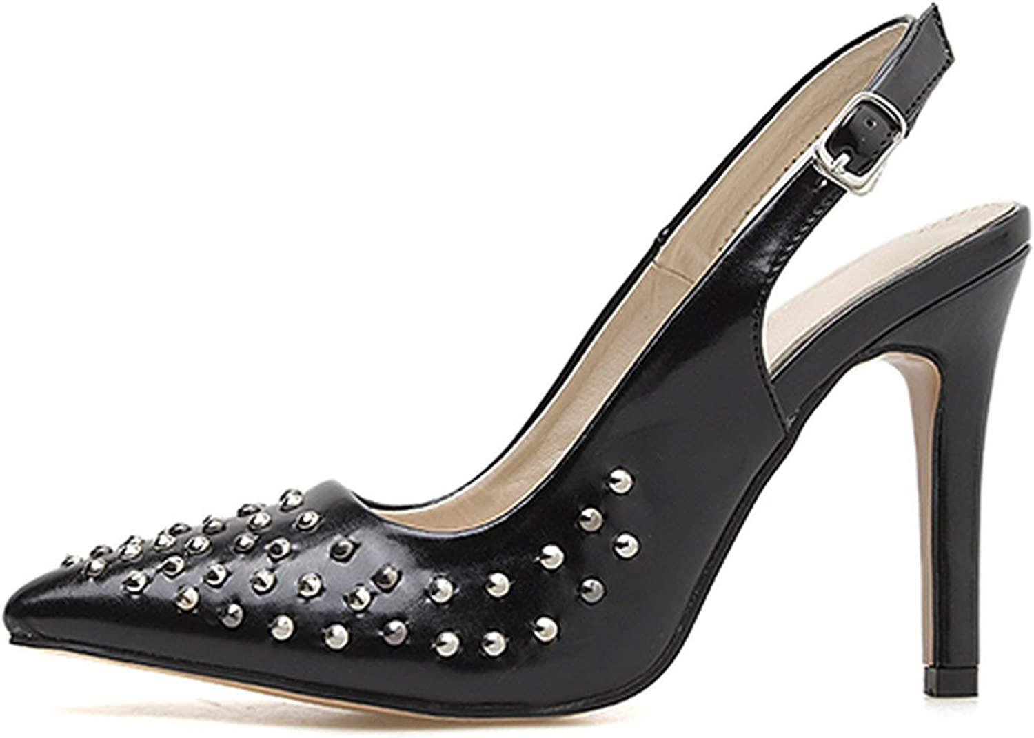 FINDYOU Classic Buckle Strap shoes Ladies Sexy Pointed Toe Pumps Rivet Black Heels shoes Women shoes