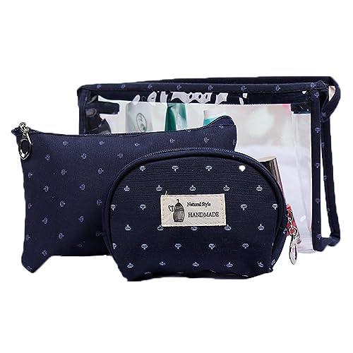 b29a92121af9 3 Set Pvc Travel Bag for Toiletries Handbags for Women Cosmetic Pouch Bag  Makeup Case Bag