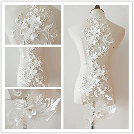 3d Applique Sew On Patches Bead3d Flowers Sequin Lace Applique Motif Sewing Bridal Veil Wedding Dress 3in1 20cmx72cm White