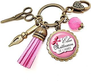 Porte clés - bijou de sac Maîtresse - Bronze et cabochon verre illustré Élue Maîtresse de l'Année - idée cadeau maîtresse,...