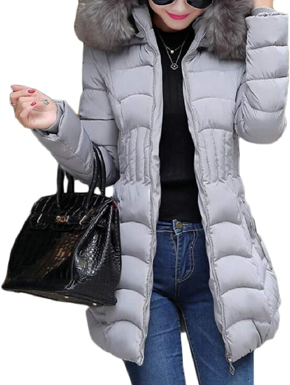 TymhgtCA Women's Slim Fit FauxFur Collar Long Sleeve Mid Long Down Jacket Coat