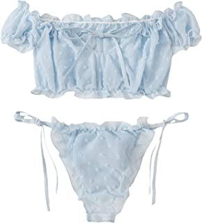 SheIn Women's Self Tie Ruffle Trim Dobby Mesh Lingerie Set Sexy Bra and Panty