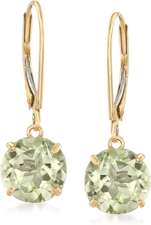 Ross-Simons 3.70 ct. t.w. Prasiolite Drop Earrings in 14kt Yellow Gold