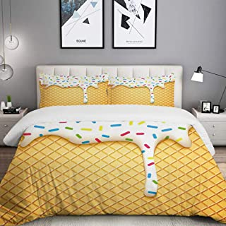 LUNASVT 3PC Bedding Set Cartoon Like Image of and Melting Ice Cream Cones Colored Sprinkles 1 Duvet Cover with 2 Matching Pillowcases Dorm Room Decor Twin/Twin XL