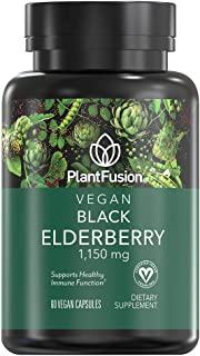PlantFusion Black Elderberry 1,150 mg Vegan Vitamin  Supports Immunity   Vegan Certified, Plant Based, Gluten and Soy Free...