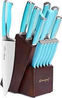Emojoy Messerblock Messerset, 15-teiliges Küchenmesserset mit Holzblock, Blauer Griff für das Kochmesserset, perfektes Besteckset aus deutschem Edelstahl Blau