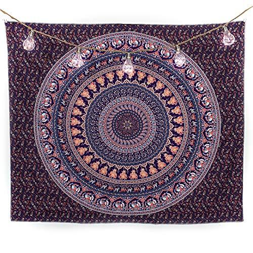 BabeeyHome Wandteppich Mandala | Indisches Psychedelic Wandtuch | Wanddeko Schlafzimmer | 130x150 cm | Orientalische Boho Deko | Indische Wandbehang Decke | Inklusive Wandhacken (Lila-Mint-Orange)