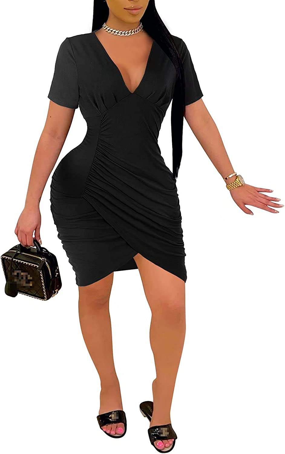 Aro Lora Womens Sexy Casual Short Sleeve Ruched Wrap Bodycon T Shirt Mini Dress