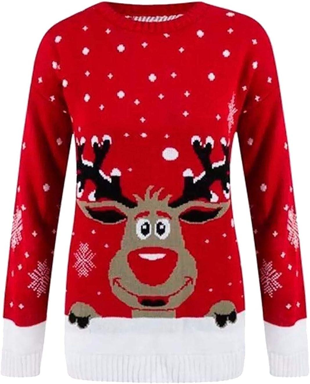 Rimi Hanger Children Reindeer Christmas Jumper Boys Girls Fancy Xmas Party Wear Sweater Top 3-12 Years