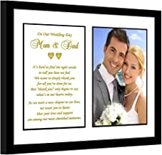 Parent Thank You Wedding Gift – Sweet Poem from Bride and Groom to Mom and Dad in 8x10 Inch Frame - Add 4x6 Inch Photo