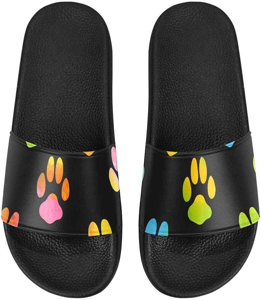 InterestPrint Women's Casual and Lightweight Slipper Sandals for Home Meow Footprint