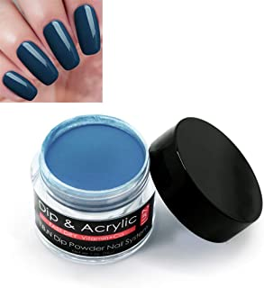 2 In 1 Acrylic Dip Powder (Added Vitamin and Calcium) I.B.N Fast Dry Dipping Powder Color Dark Star Blue, 1 Ounce/28g, for Nail Salon Home Use (76)